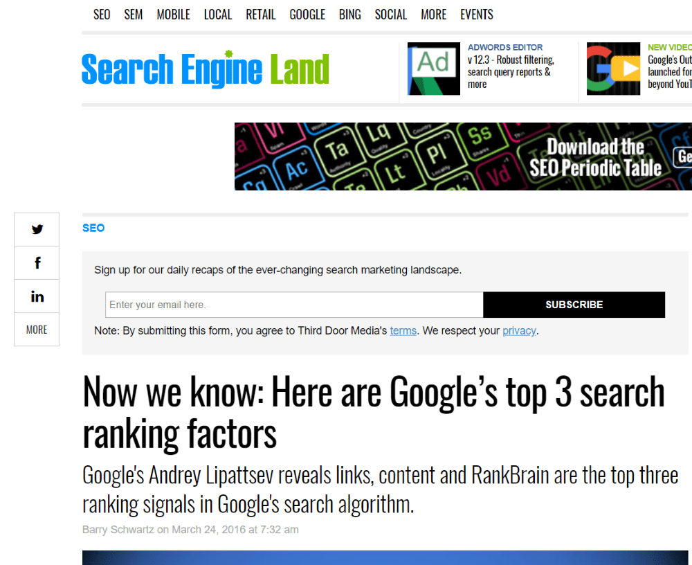 Google Top 3 Ranking Factors